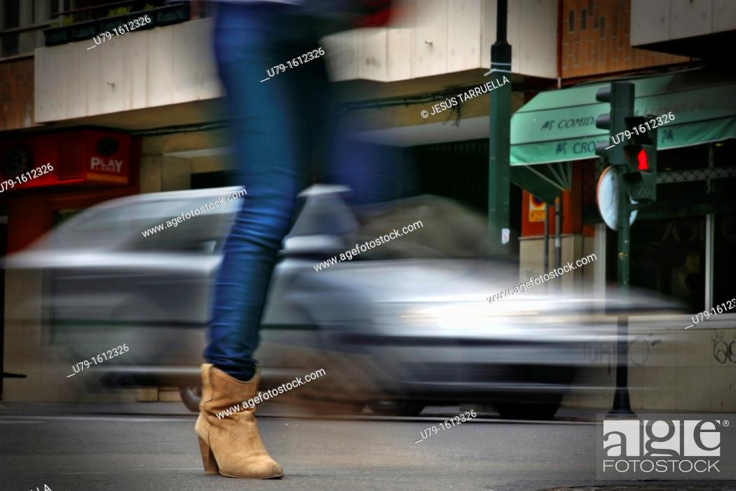 Stock Photo: Pedestrians at risk of outrage.