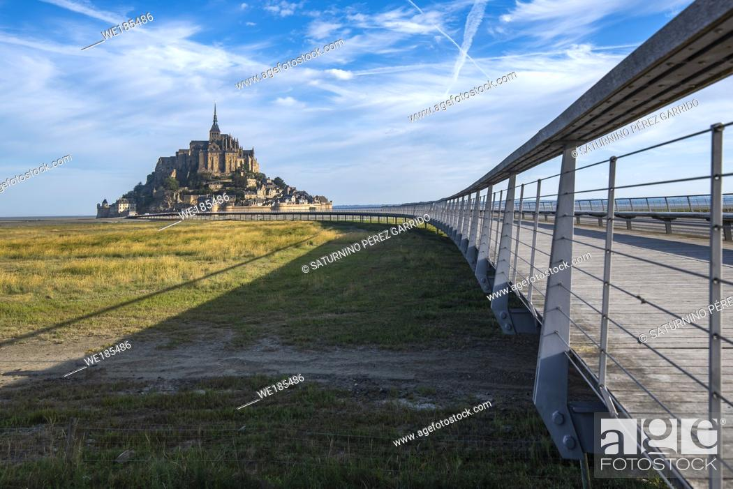 Stock Photo: Lift platform for access to Mont Saint Michel above the sea when the tide rises, allowing access.