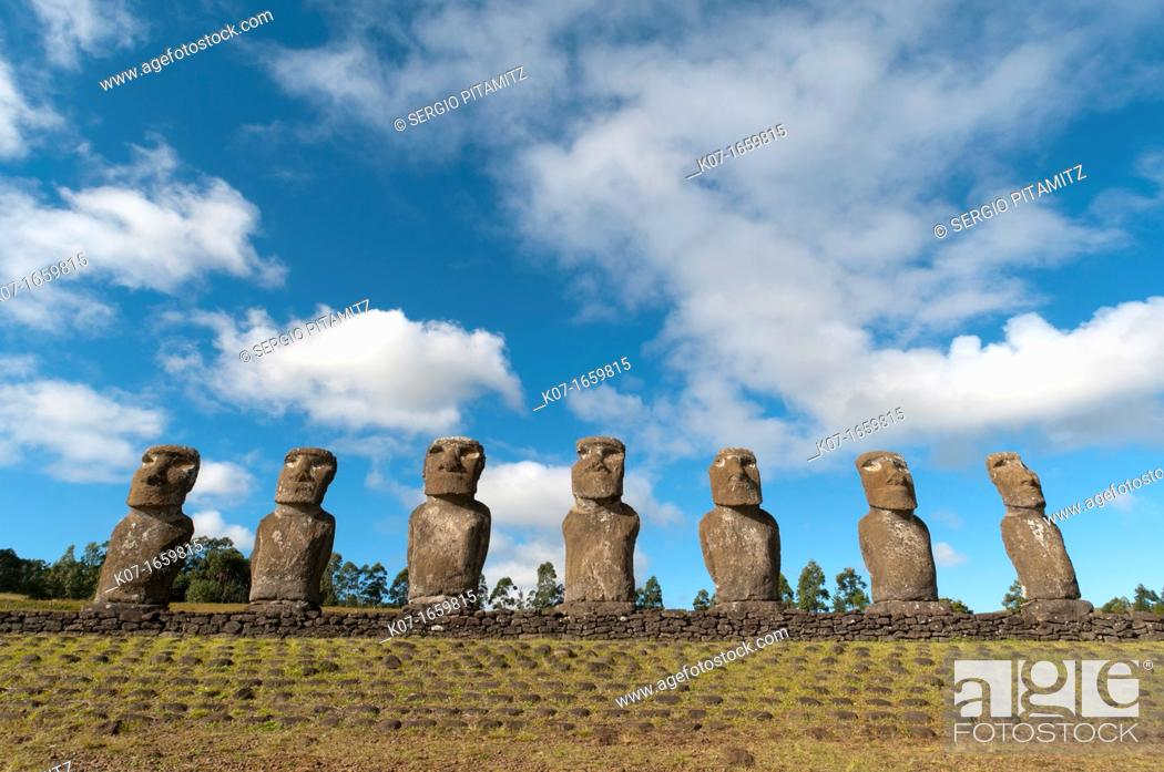 Stock Photo: Ahu Akivi, Rapa Nui, Easter Island, Chile.