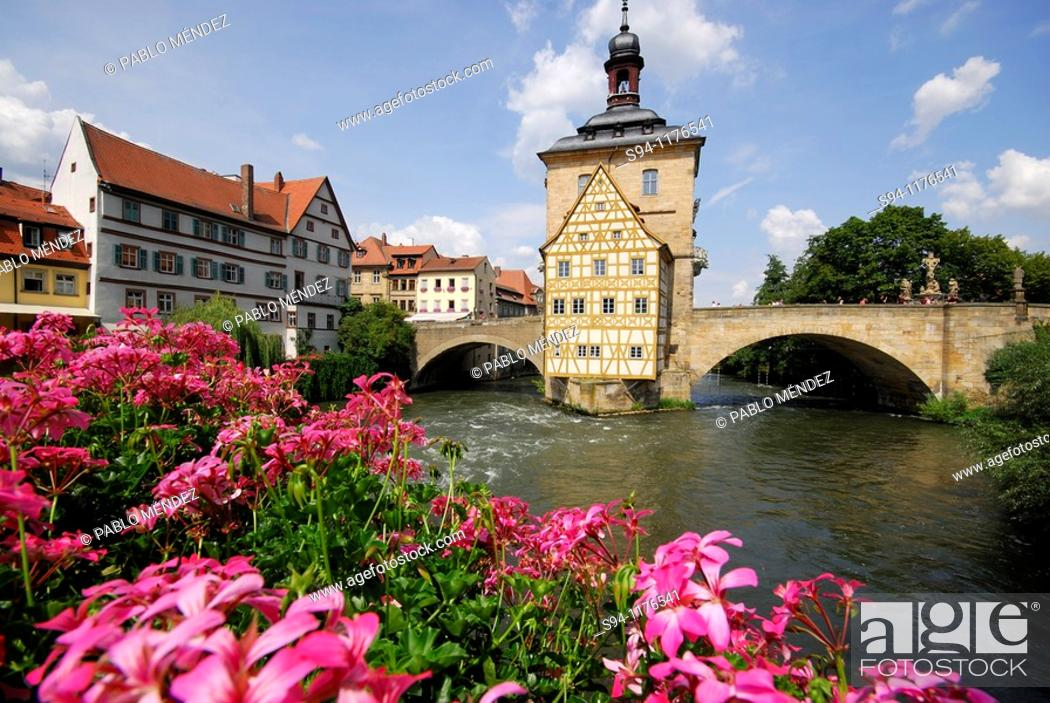 Stock Photo: Obere Mühlbrücke 'High bridge' in Bamberg, Bavaria, Germany.