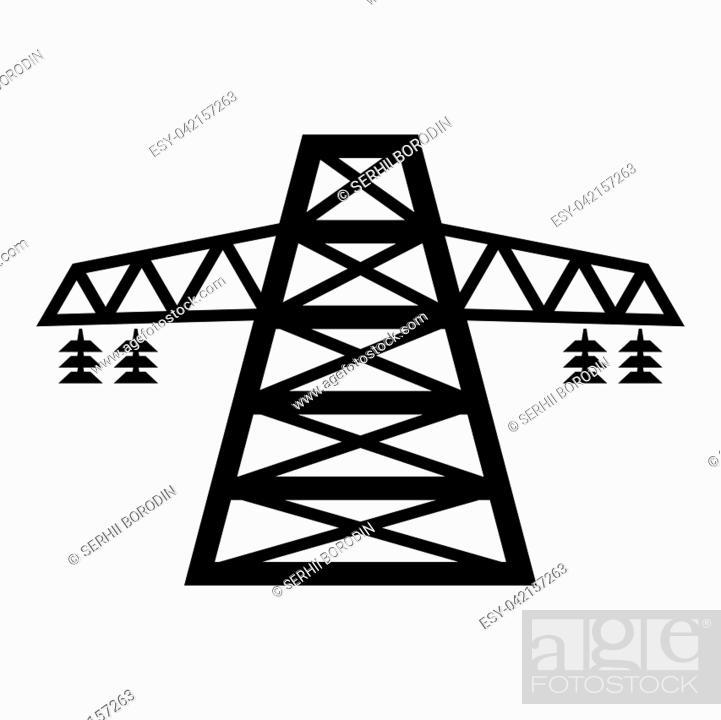 Vector: Electric pole post high voltage set line icon black color vector illustration flat style simple image.