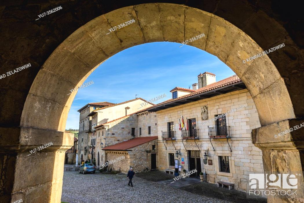 Stock Photo: Buildings on Plaza Mayor - main square in Santillana del Mar historic town located in Cantabria autonomous community in northern Spain.