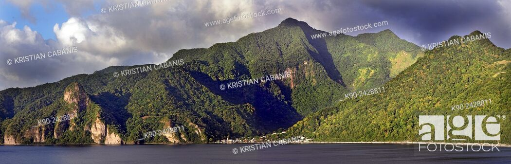 Stock Photo: Coastline of the eastern coast of Dominica with the village of Soufriere, Windward Islands, Lesser Antilles, Eastern Caribbean Islands, West Indies, Americas.