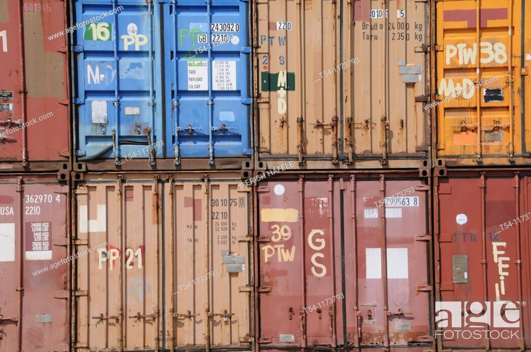 Stock Photo: Colorful Container Transport in Munich.