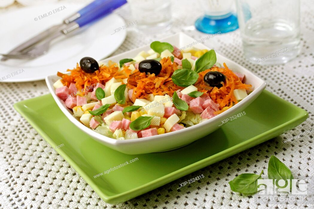 Stock Photo: Cheese and sausage salad.