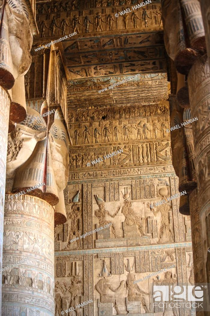 Stock Photo: Temple of Hathor Dandarah or Dendera, Ptolemaic period, 1st century b.C. relief scene, Qena, Egypt.
