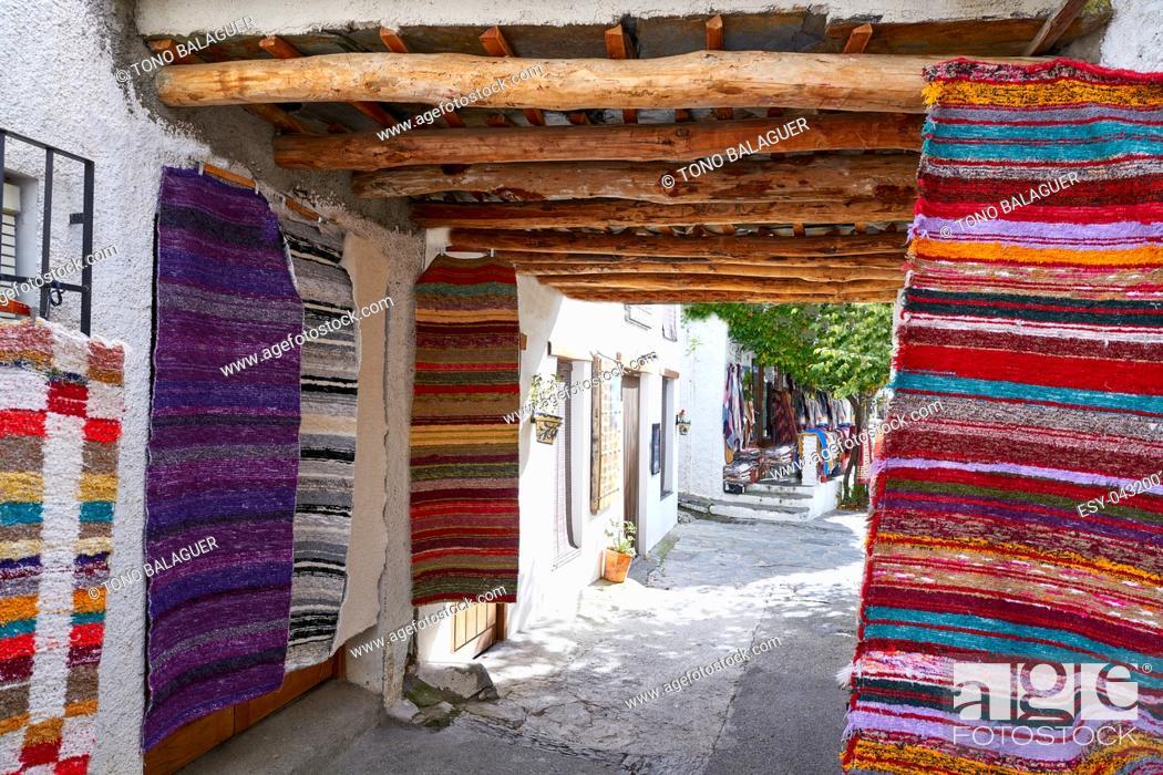 Stock Photo: Alpujarras blankets rugs in Granada traditional colorful Serape.