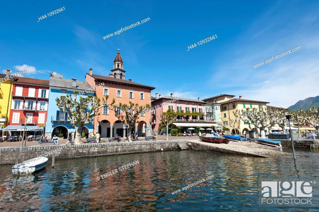 Stock Photo: Switzerland, Europe, Ticino, Ascona, Lago Maggiore, lake, harbour, port, houses, homes,.