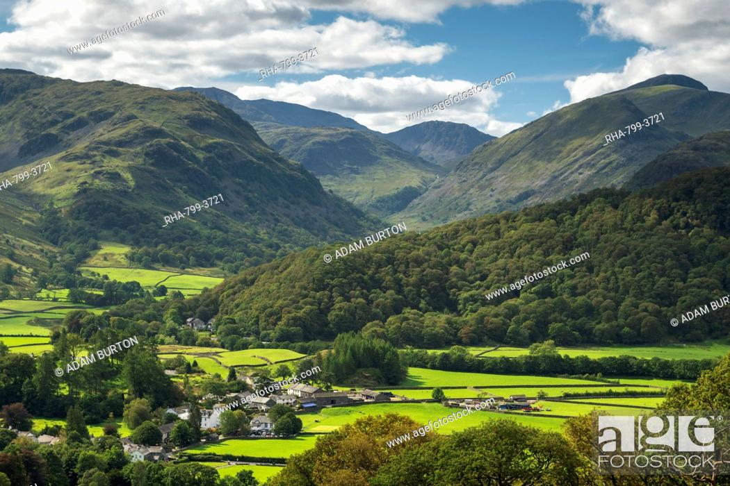 Stock Photo: The village of Rosthwaite in the Borrowdale Valley, Lake District National Park, UNESCO World Heritage Site, Cumbria, England, United Kingdom, Europe.