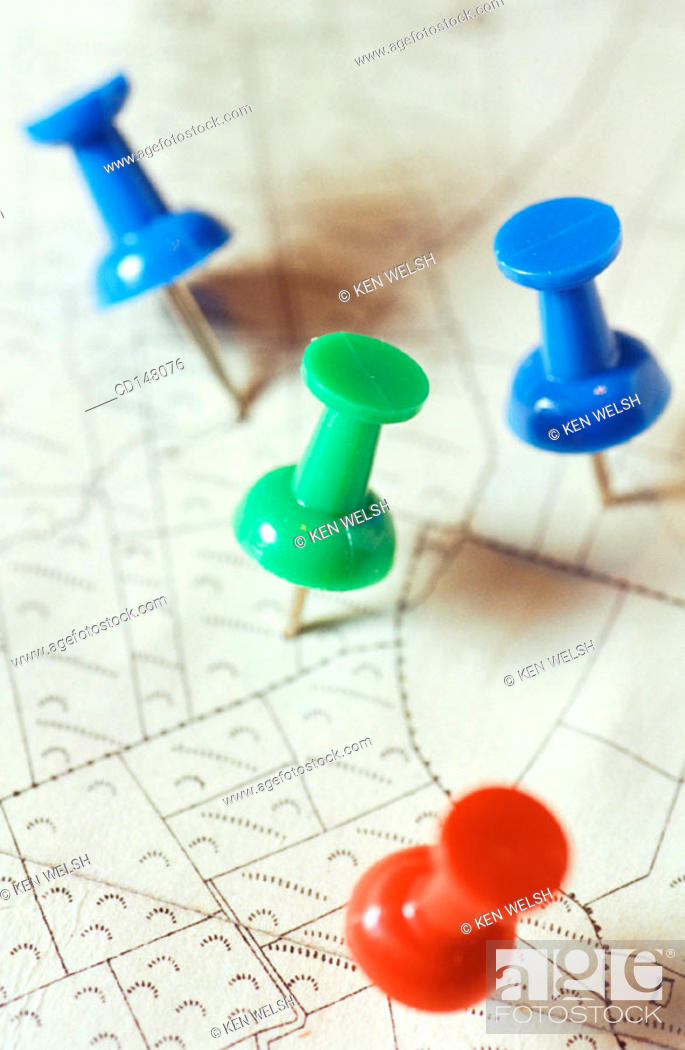 Stock Photo: Pins marking place on map.