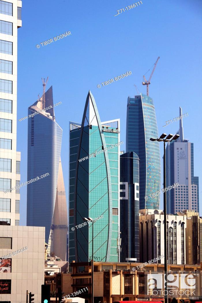 Stock Photo: Kuwait, Kuwait City, skyscrapers, skyline,.
