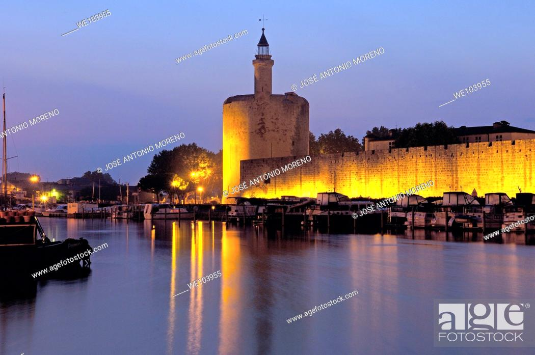 Stock Photo: Constance Tower at dawn, Aigues-Mortes. Petite Camargue, Gard, Languedoc-Roussillon, France.