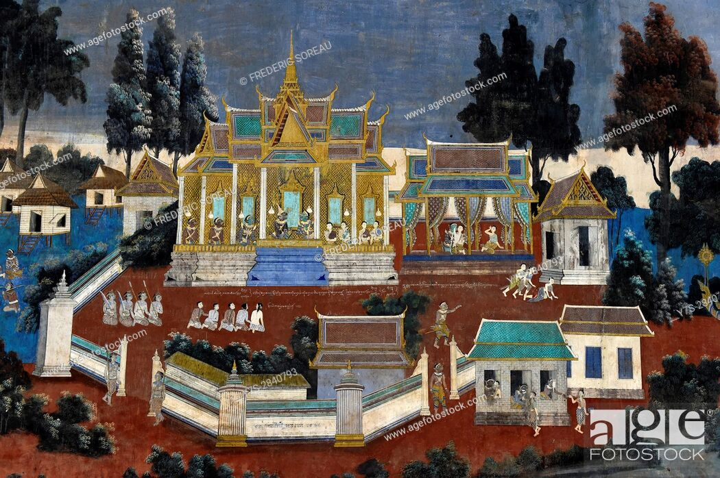Stock Photo: Ruined frescoes and paintings on wall, Royal Palace Complex, Phnom Penh, Cambodia, Indochina, Southeast Asia, Asia.