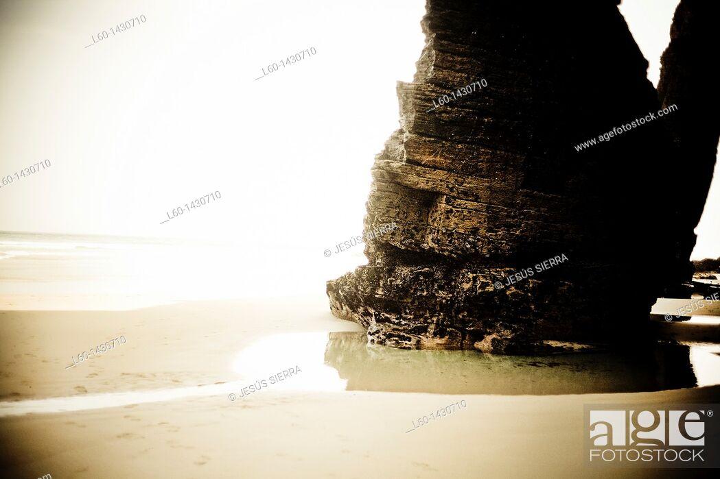 Stock Photo: Playa de las Catedrales, Near Ribadeo, Galicia, Spain.