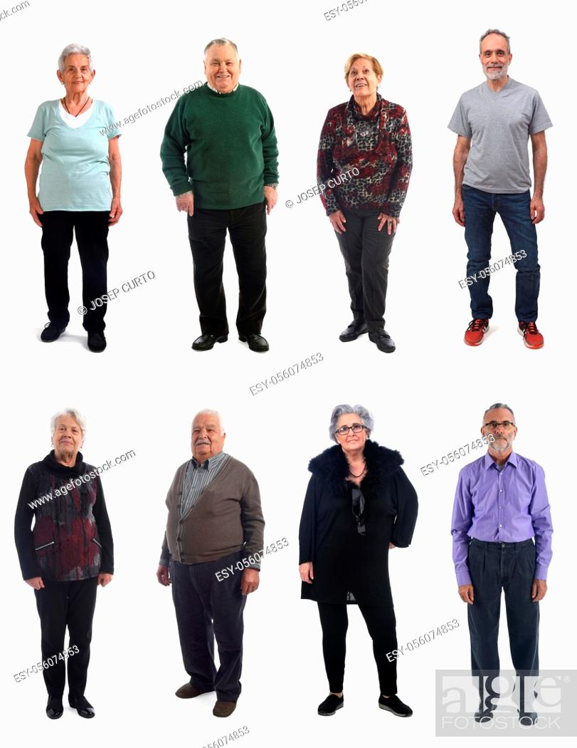 Photo de stock: mixed group of mature people on white background.