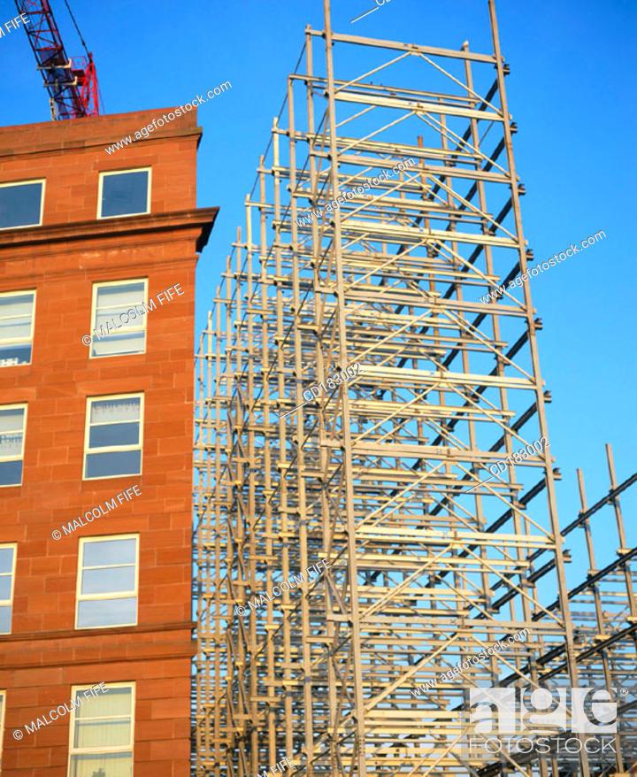 Stock Photo: Steel framework, block of flats under construction.