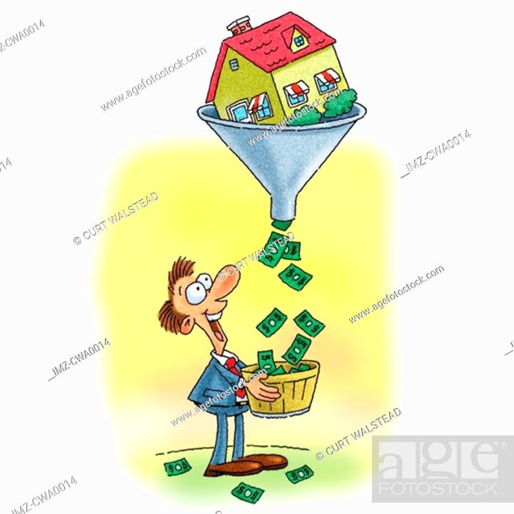 Stock Photo: A house turning into dollars collected by a happy man.