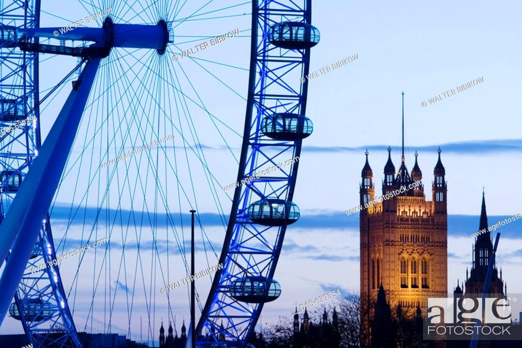 Stock Photo: Houses of Parliament and London Eye / Evening. London. England. UK.
