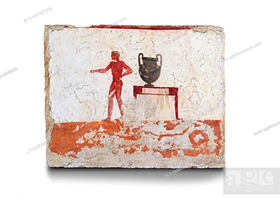 Stock Photo: Greek Fresco on the inside of Tomb of the Diver [La Tomba del Truffatore]. The tomb is painted with the true fresco technique and its importance lies in being.