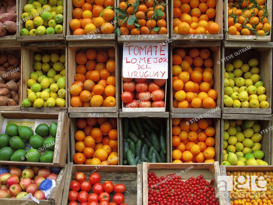 Stock Photo: A Greengrocers Fruits and Vegetables display , Montevideo Ciudad Vieja district, Uruguay, South America.