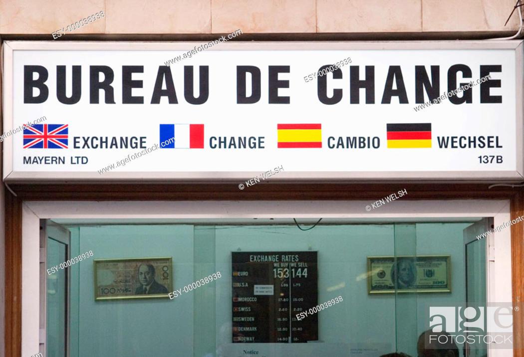 Bureau de change change shop. gibraltar uk stock photo picture