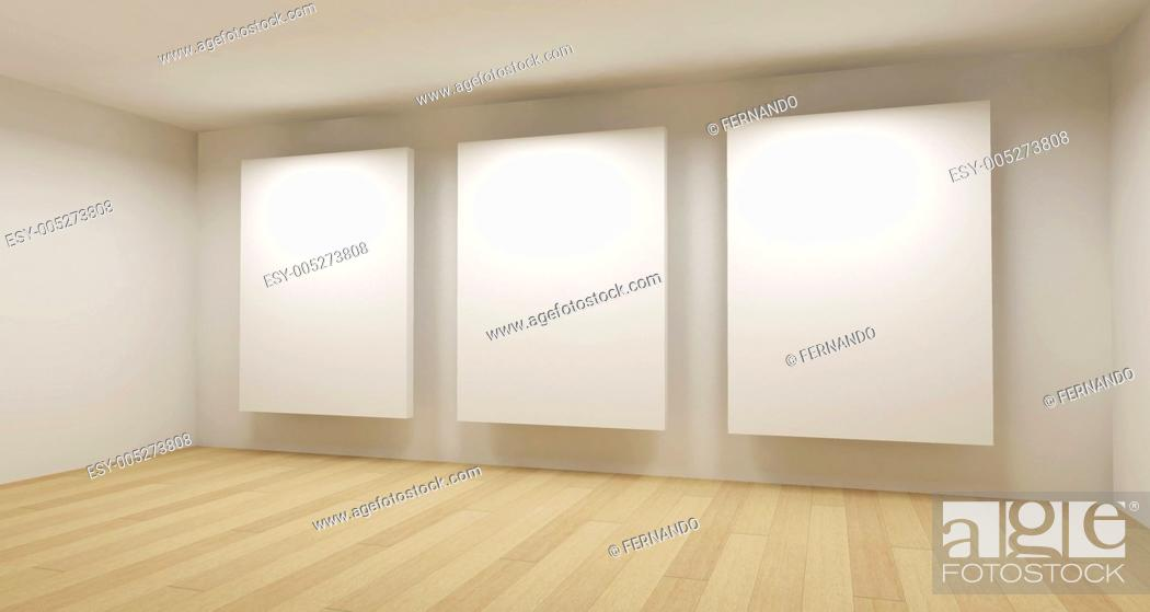 Imagen: Medical room, 3d art with empty space, three white frames.