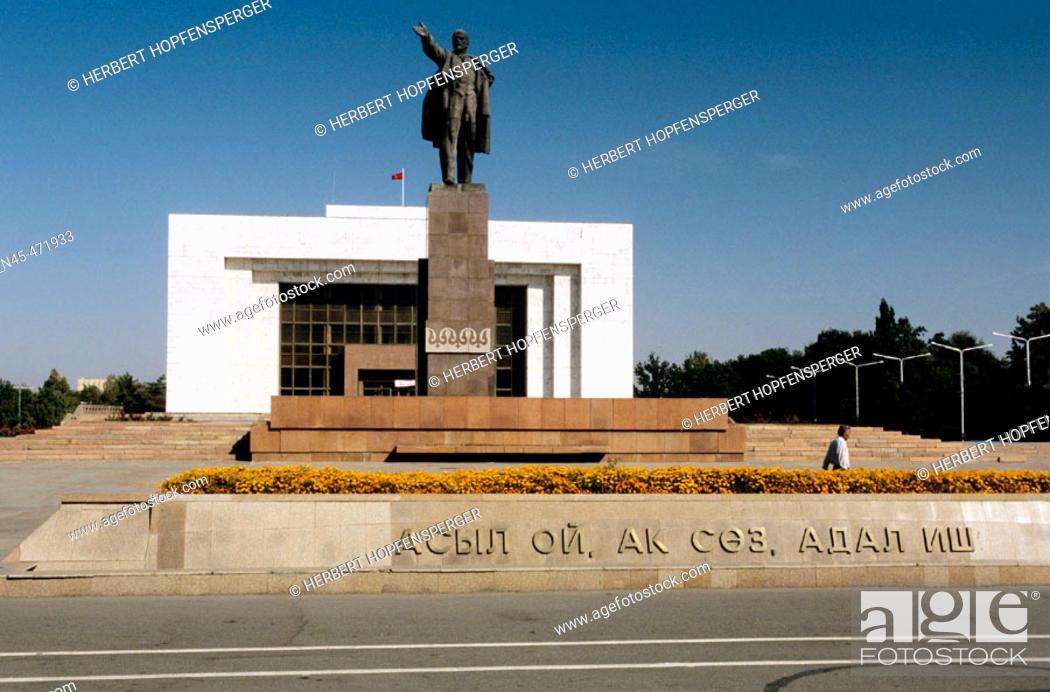Stock Photo: Kyrgyz National Museum, Vladimir Lenin Statue. History Museum. Bishkek. Kyrgyzstan.