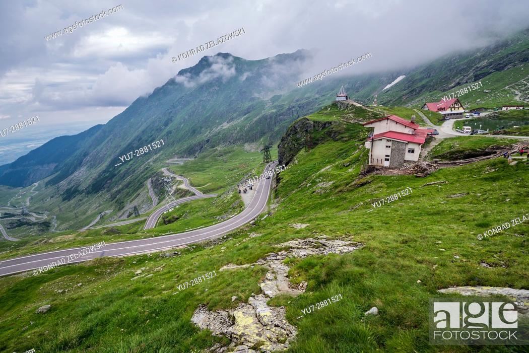 Stock Photo: Transfagarasan Road seen from Balea Lake area in Fagaras Mountains (part of Carpathian Mountains), Romania.