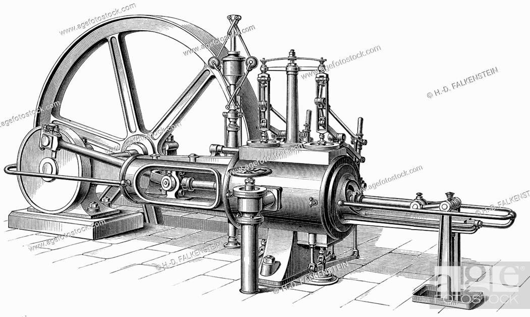 stock photo - historical graphic representation, technical drawing, steam  engine, piston heat engine, the contained thermal energy or pressure in  steam is
