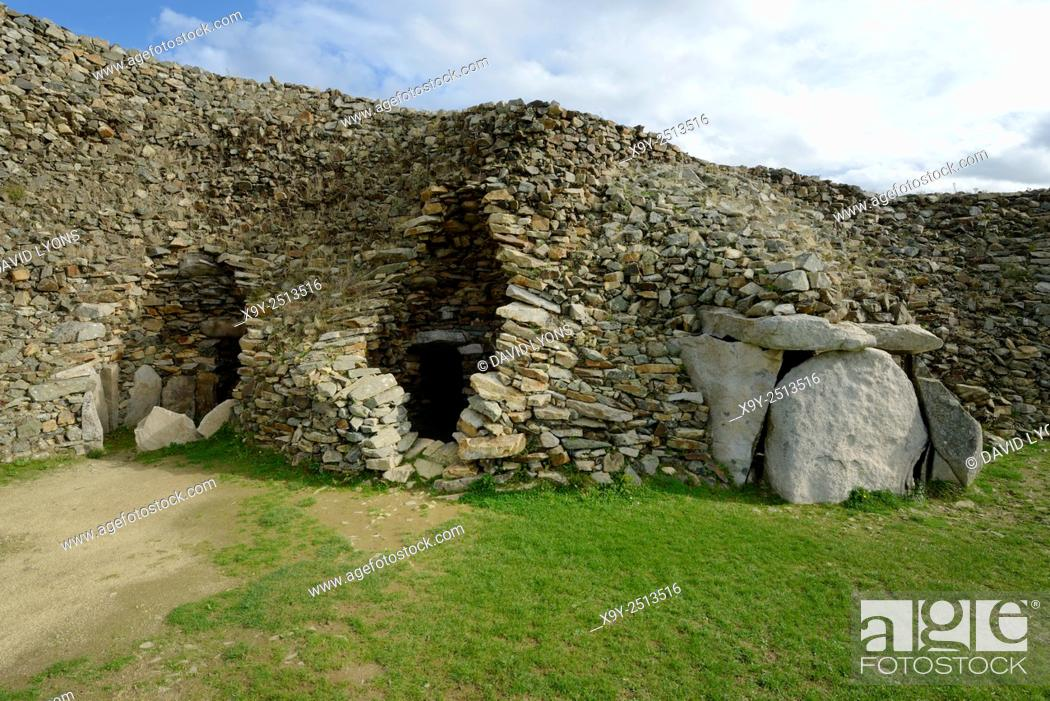 Stock Photo: Early Neolithic 6800 year old Cairn Tumulus Mound of Barnenez. 3 of 11 passage grave chambers. Plouezoc'h, Finistere, France.