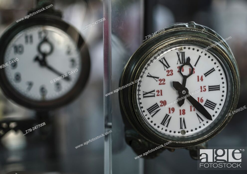 Stock Photo: A green clock view in the train museum, Madrid city, Spain.