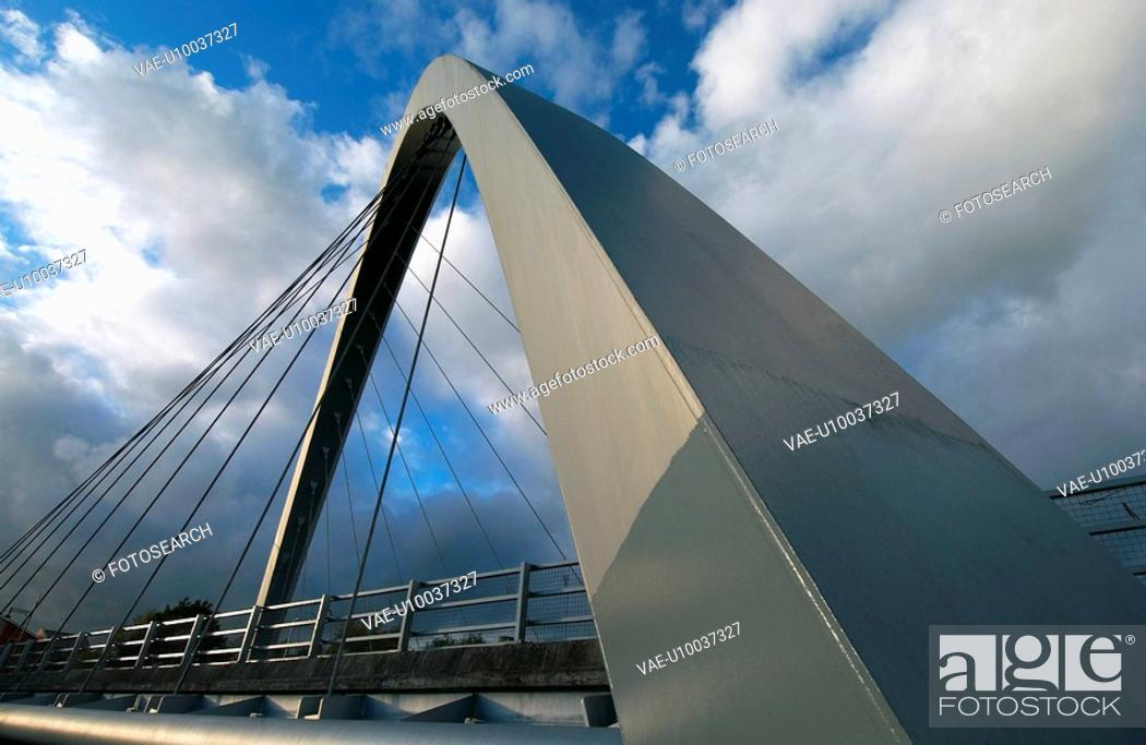 Stock Photo: Hulme Arch Bridge in Manchester England.