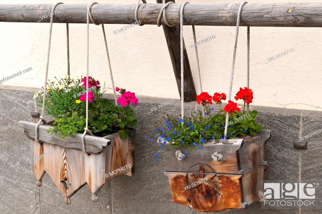 Pontresina Switzerland Wooden Window Flower Boxes 01 01 2011 Stock Photo Picture And Rights Managed Image Pic Vig 2618715 Agefotostock