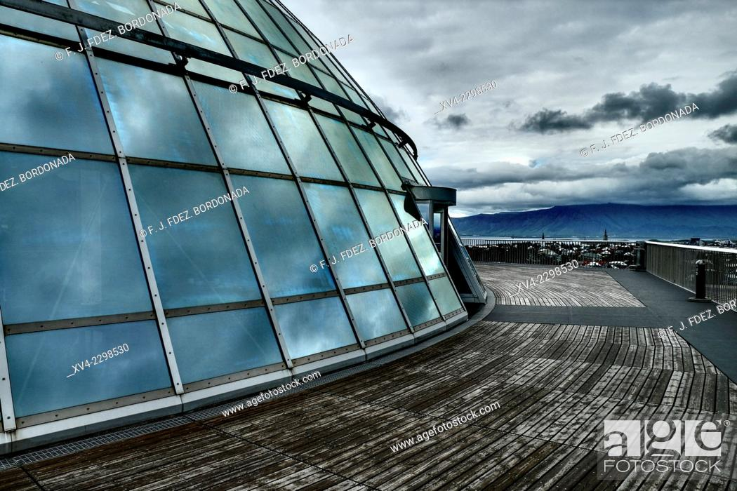 Stock Photo: Perla Exhibition centre rooftop, Reykjavik, Iceland.