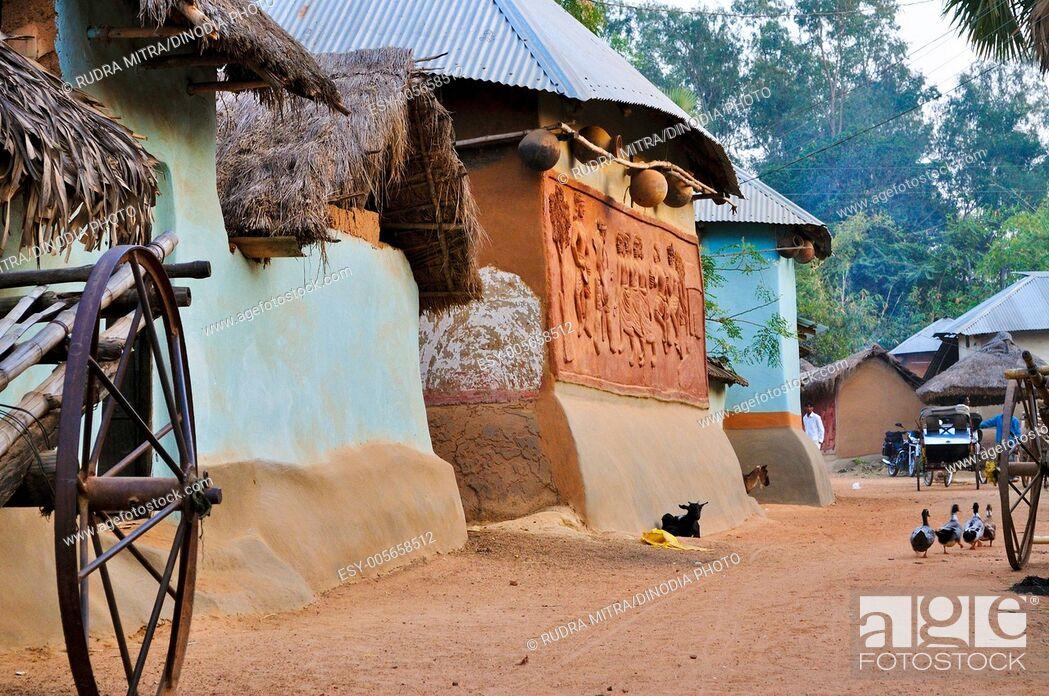 Stock Photo: Santal tribal village ; Shantiniketan ; West Bengal ; India.