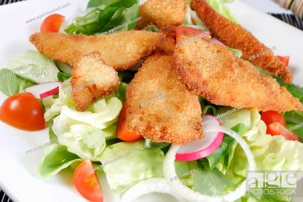 Stock Photo: Chicken with salad, close-up.
