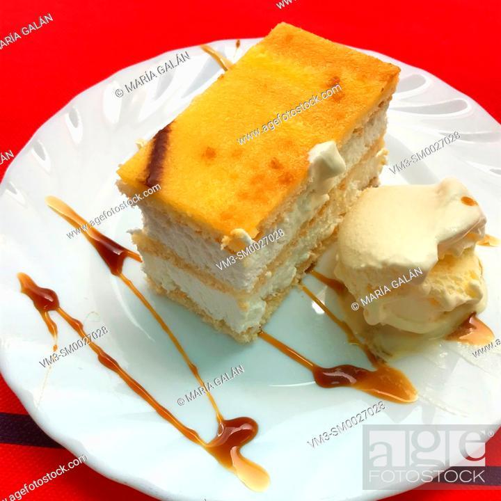 Stock Photo: Cake with ice cream.