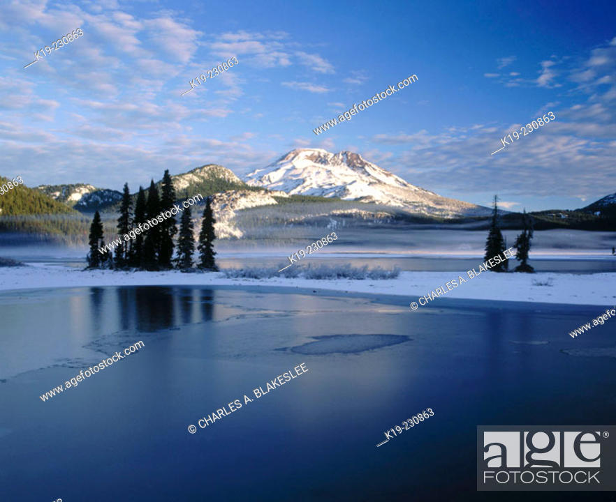 Stock Photo: Snow covers South Sister and Sparks Lakes. Deschutes National Forest. Oregon. USA.
