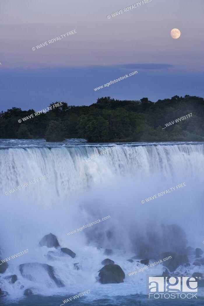 Stock Photo: The American Falls at dusk with full moon - Niagara Falls -New York USA.