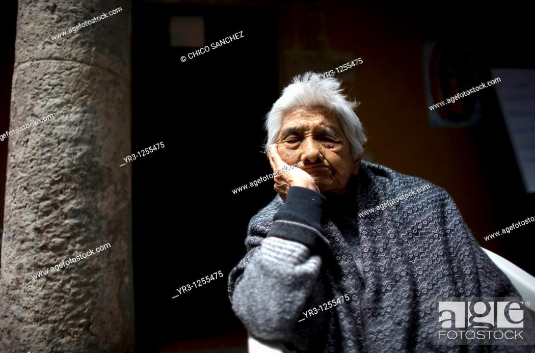 Stock Photo: Isabel Alarcon, 99, sleeps in Our Lady of Guadalupe Home for the Elderly, Mexico City.