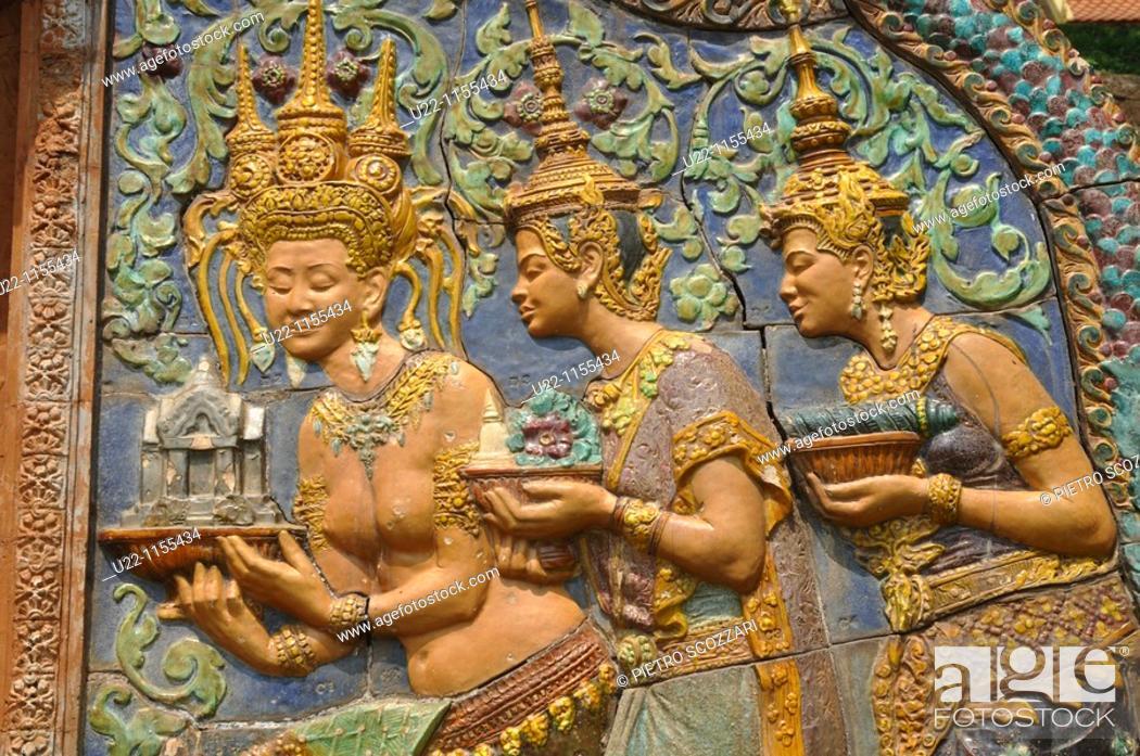 Stock Photo: Phnom Penh (Cambodia): Buddhist bas-relief by the Wat Phnom.