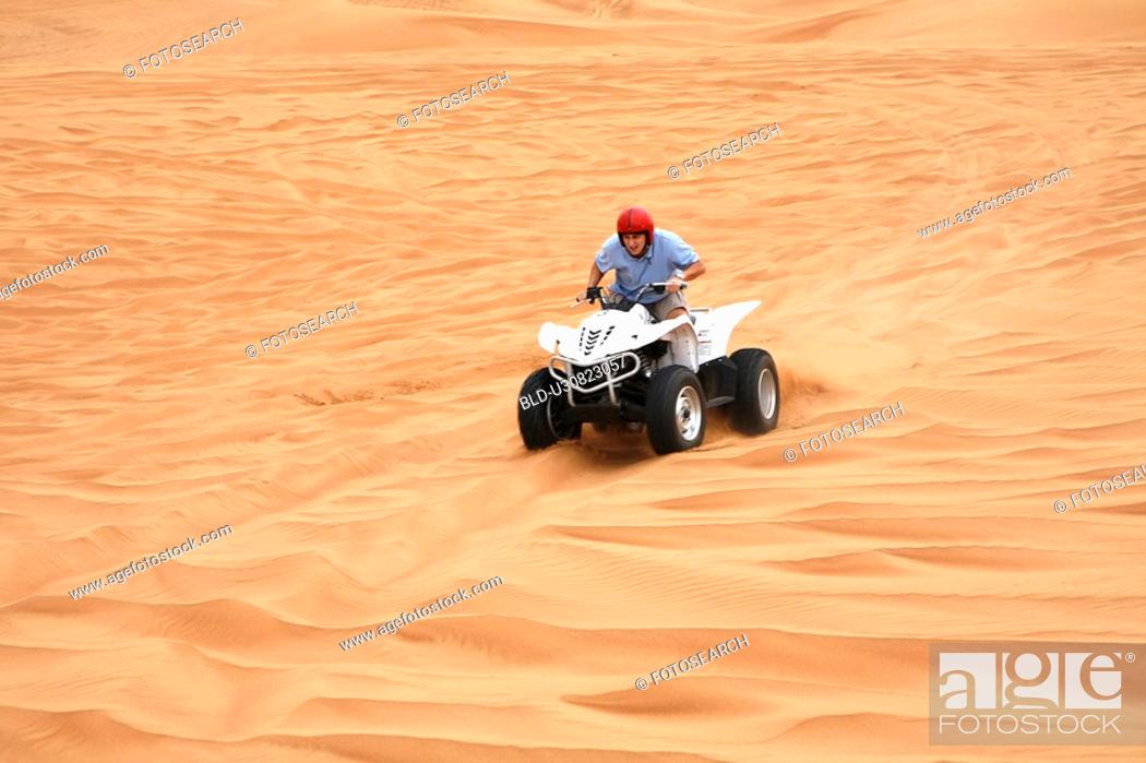 Stock Photo: quad, desert, sand, sport.