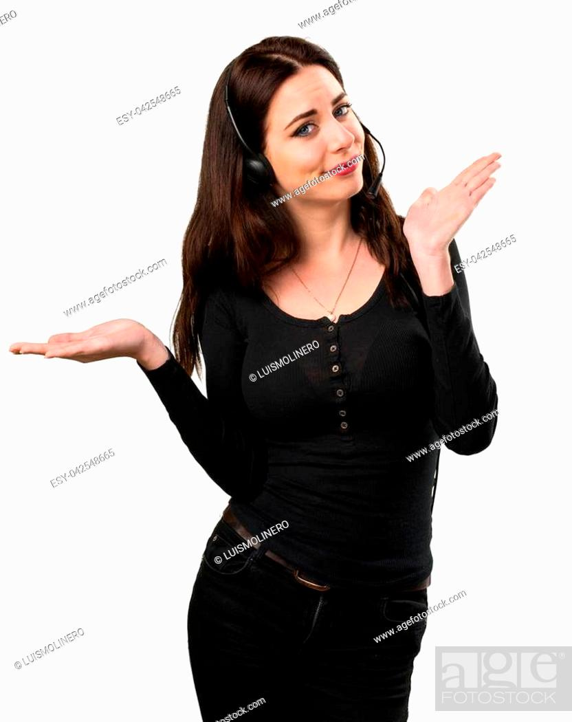 Stock Photo: Telemarketer Beautiful young girl making unimportant gesture.