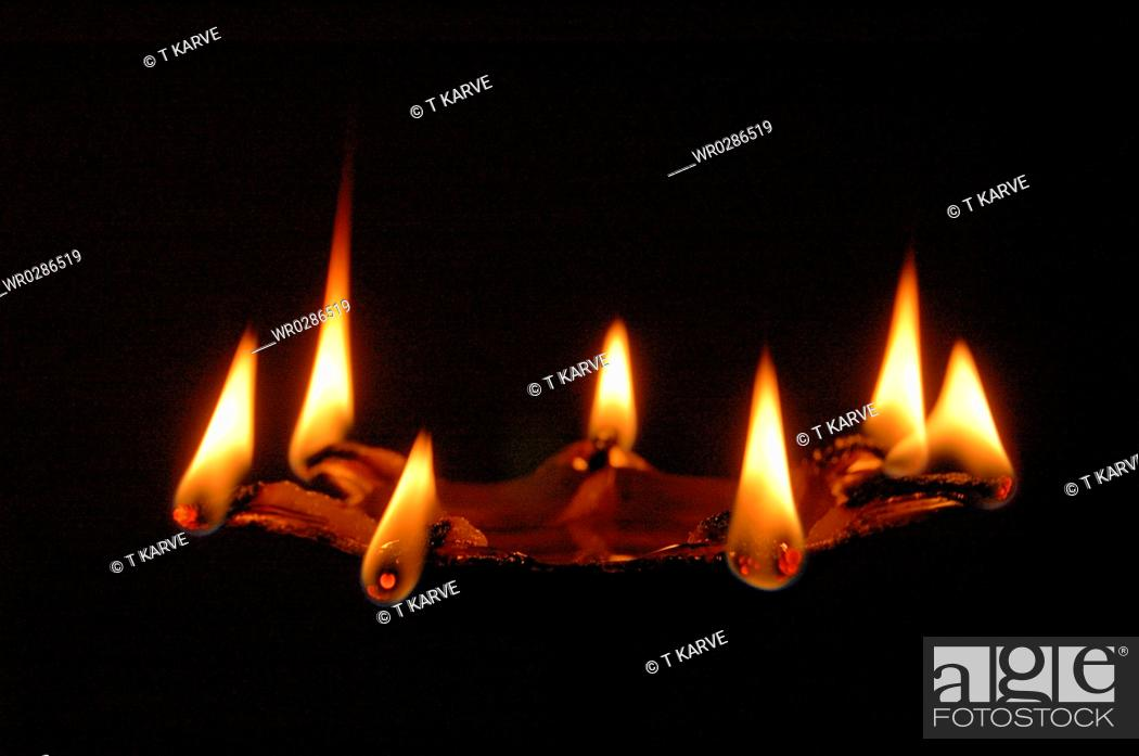 Stock Photo   Aarti Its Seven Flame Lamp Use For Hindu God Puja