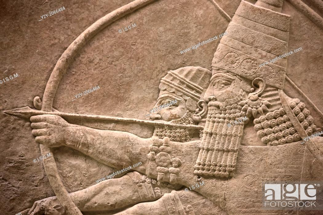 Stock Photo: Assyrian bas-relief at British Museum, London, England, UK.
