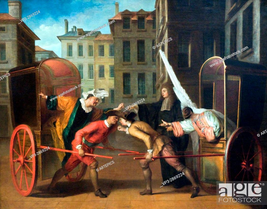 Stock Photo: Claude Gillot. Les deux carosses - The two carriages. 1707. Commedia dell'arte. Scaramouche. Arlequin.