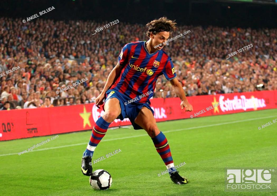 Stock Photo: Zlatan Ibrahimovic, Swedish footballer, FC Barcelona, 20009.