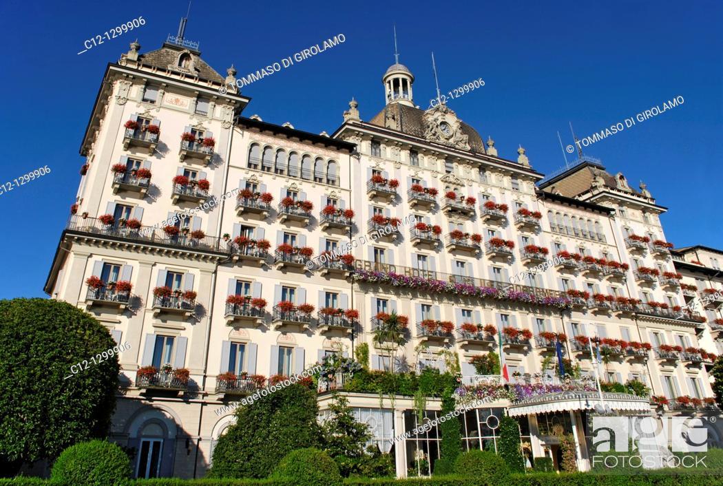 Stock Photo: Grand Hotel des Iles Borromees, Stresa, Lago Maggiore, Italy.