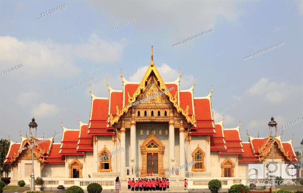 Stock Photo: Thailand, Bangkok, Marble Temple, Wat Benchamabophit.