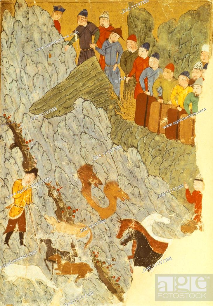 Stock Photo: Mongols with horses, dogs and camels, miniature, Persia 12th Century.  Paris, Bibliothèque Nationale De France (Library).